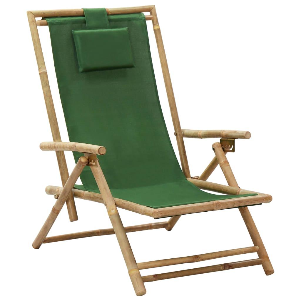 Polohovací relaxační křeslo zelené bambus a textil