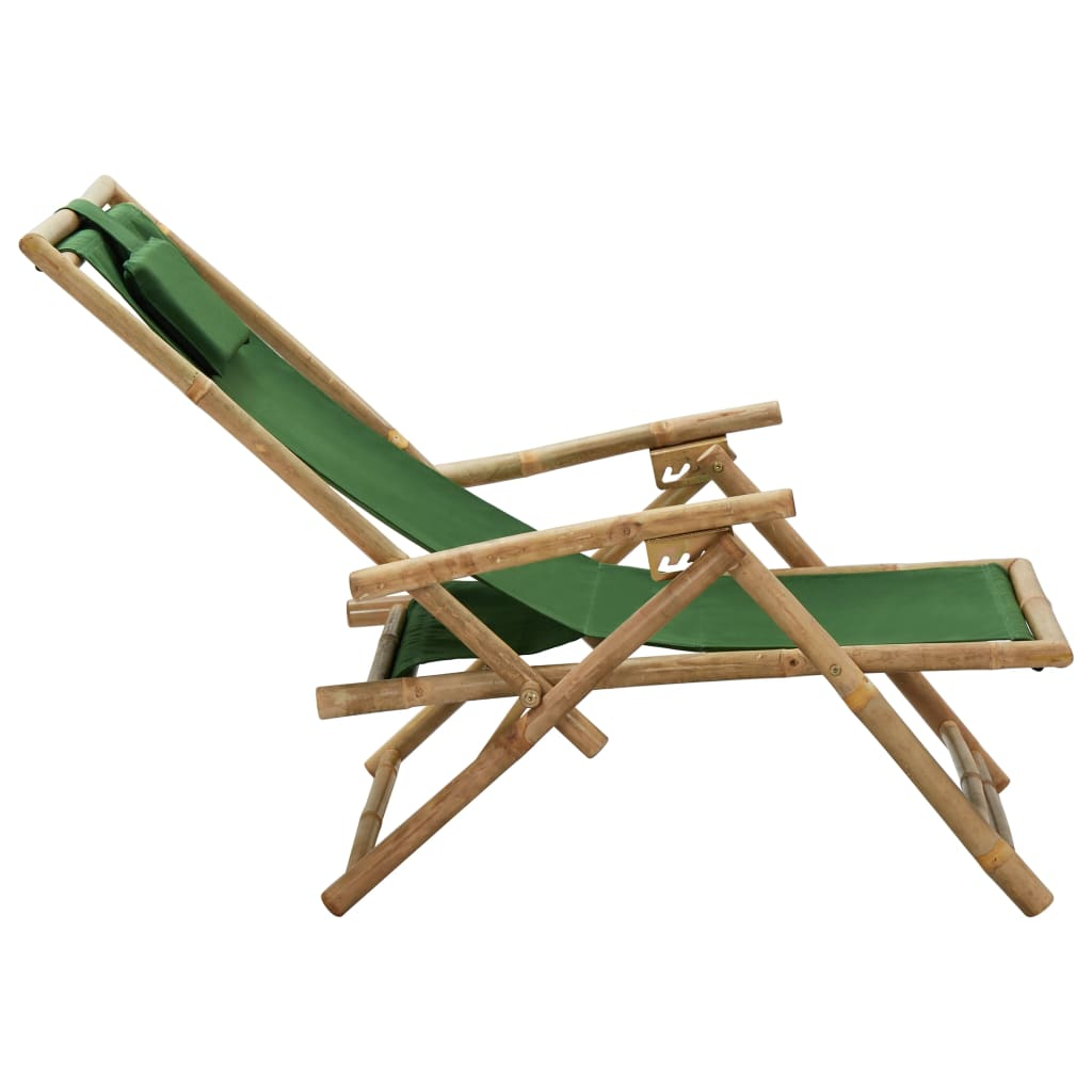 vidaXL Relaxstoel verstelbaar bamboe en stof groen