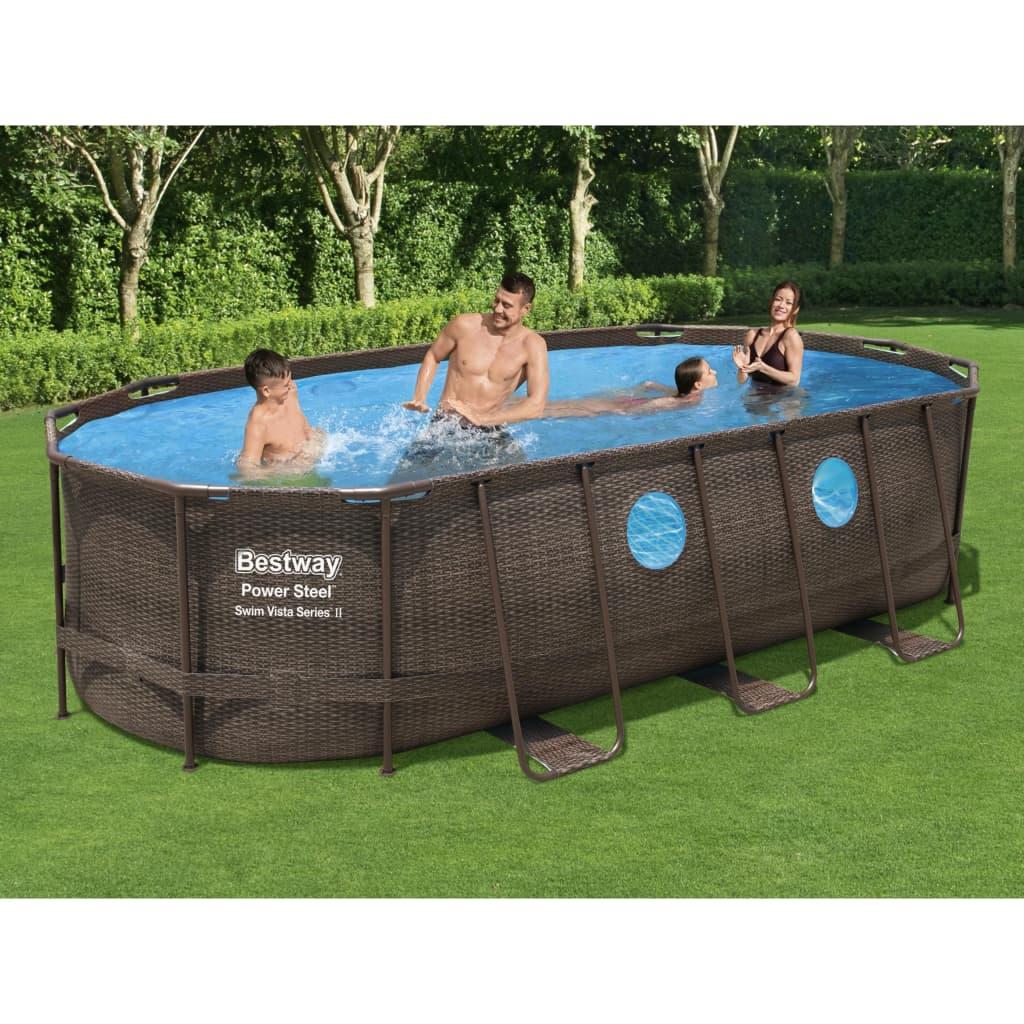 <ul><li><strong>Swimming Pool:</strong></li><li>Rahmen-Material: Stahl</li><li>Abmessungen: 549 x 274 x 122 cm (L x B x H)</li><li>Pooltiefe: 1,22 m</li><li>Stahlrohrkonstruktion mit Korrosionsschutz-Beschichtung</li><li>Hochbelastbare 3-lagige Seitenwände</li><li>Kapazität (90%): 13430 L (3548 gal)</li><li>Außenwand mit Rattandruck</li><li>Unten mit realistischem Fliesendruck</li><li>Aufbau: 30 Minuten</li><li>Mit wasserbeständigem Reparaturflicken</li><li>Seal & Lock System für sichere Rohrverbindungen</li><li>Inklusive integriertem Ablassventil</li><li><strong>Filterpumpe:</strong></li><li>Spannung: 220 - 240 V~</li><li>Wasserdurchfluss: 1500 L</li><li>Montage erforderlich: Ja</li><li>Bestway Artikelnummer: 56716</li><li><strong>Lieferung enthält:</strong></li><li>1 x Schwimmbecken</li><li>1 x Filterpumpe</li><li>1 x Sicherheitsleiter</li><li>1 x Poolabdeckung</li><li>1 x ChemConnect Dosierer</li></ul>