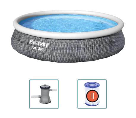 Bestway Uppblåsbar pool Fast Set med pump 396x84 cm
