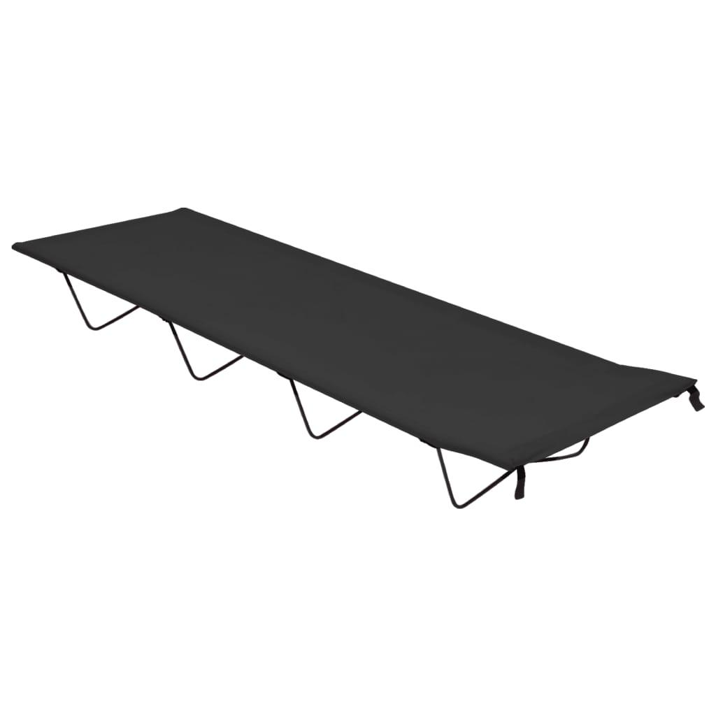 Krevet za kampiranje 180 x 60 x 19 cm od tkanine i čelika crni