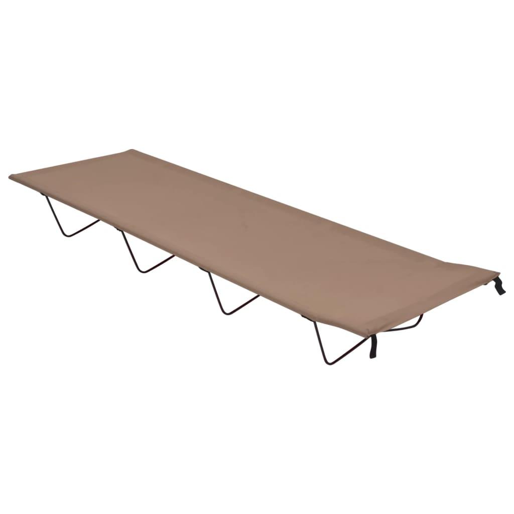 Krevet za kampiranje 180x60x19 cm tkanina i čelik smeđe-sivi
