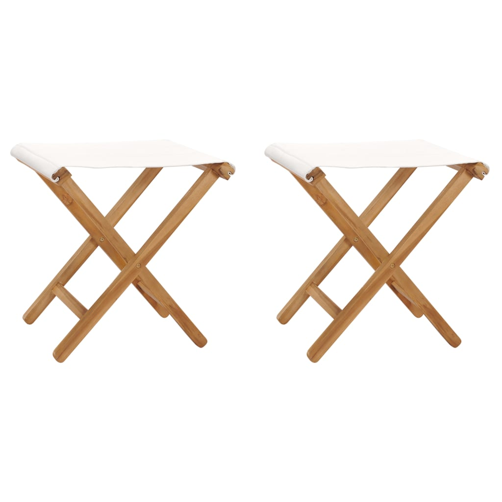 Skládací židle 2 ks masivní teakové dřevo a textil krémově bílé