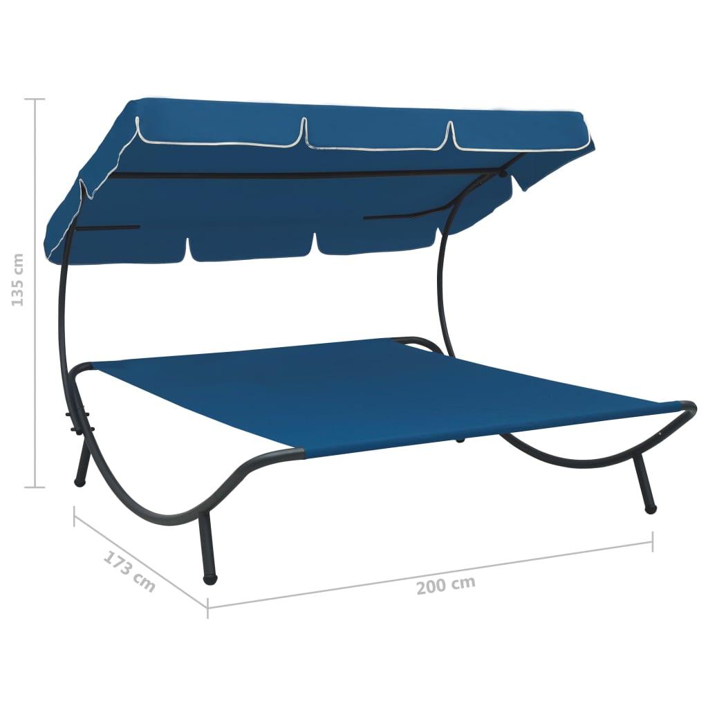vidaXL Loungebed met luifel blauw