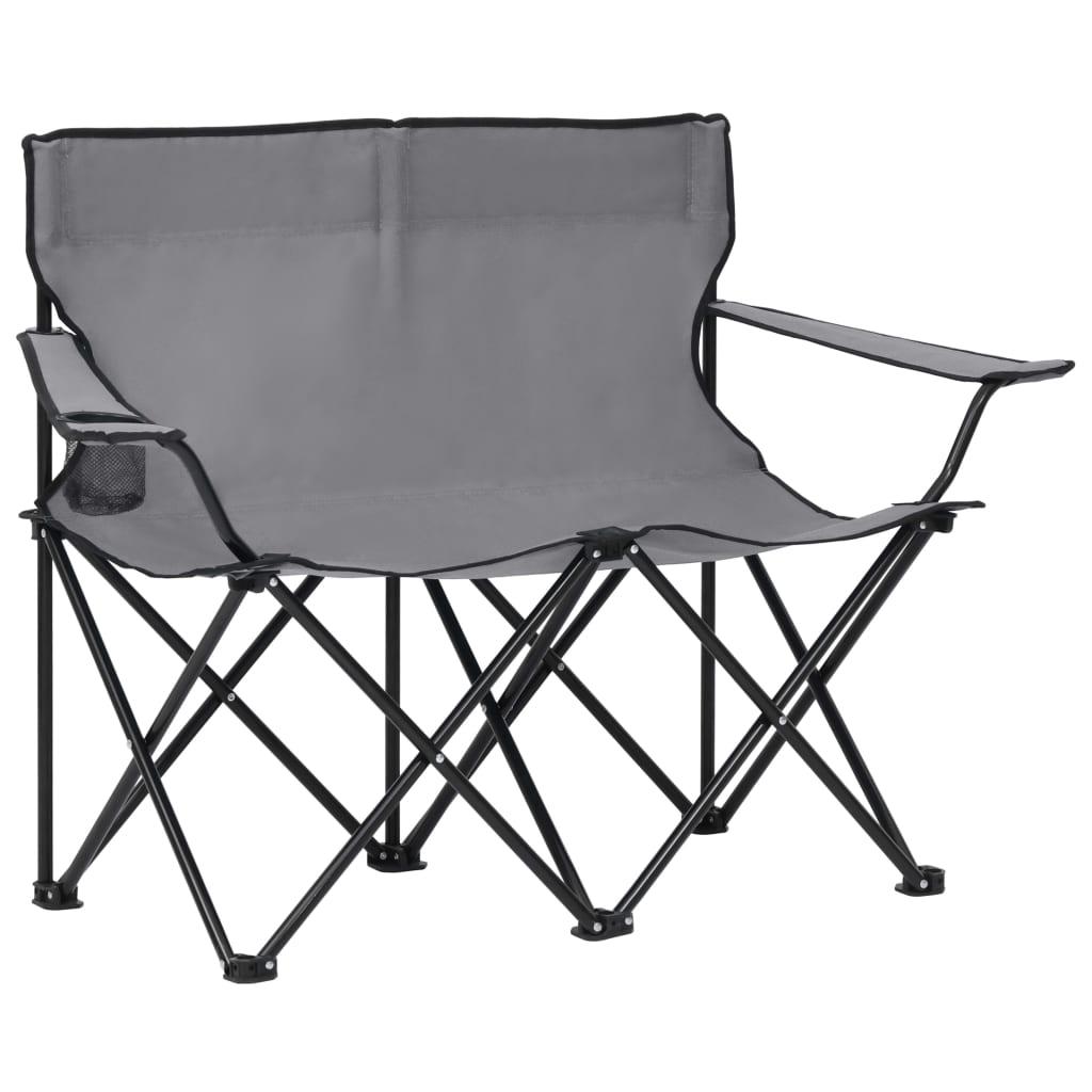 2místná skládací kempingová sedačka ocel a textil šedé