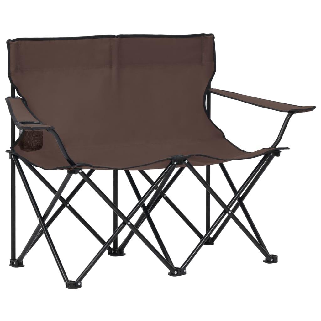 vidaXL 2místná skládací kempingová sedačka ocel a textil taupe