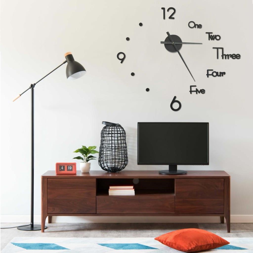 3D Nástěnné hodiny s moderním designem černé 100 cm XXL