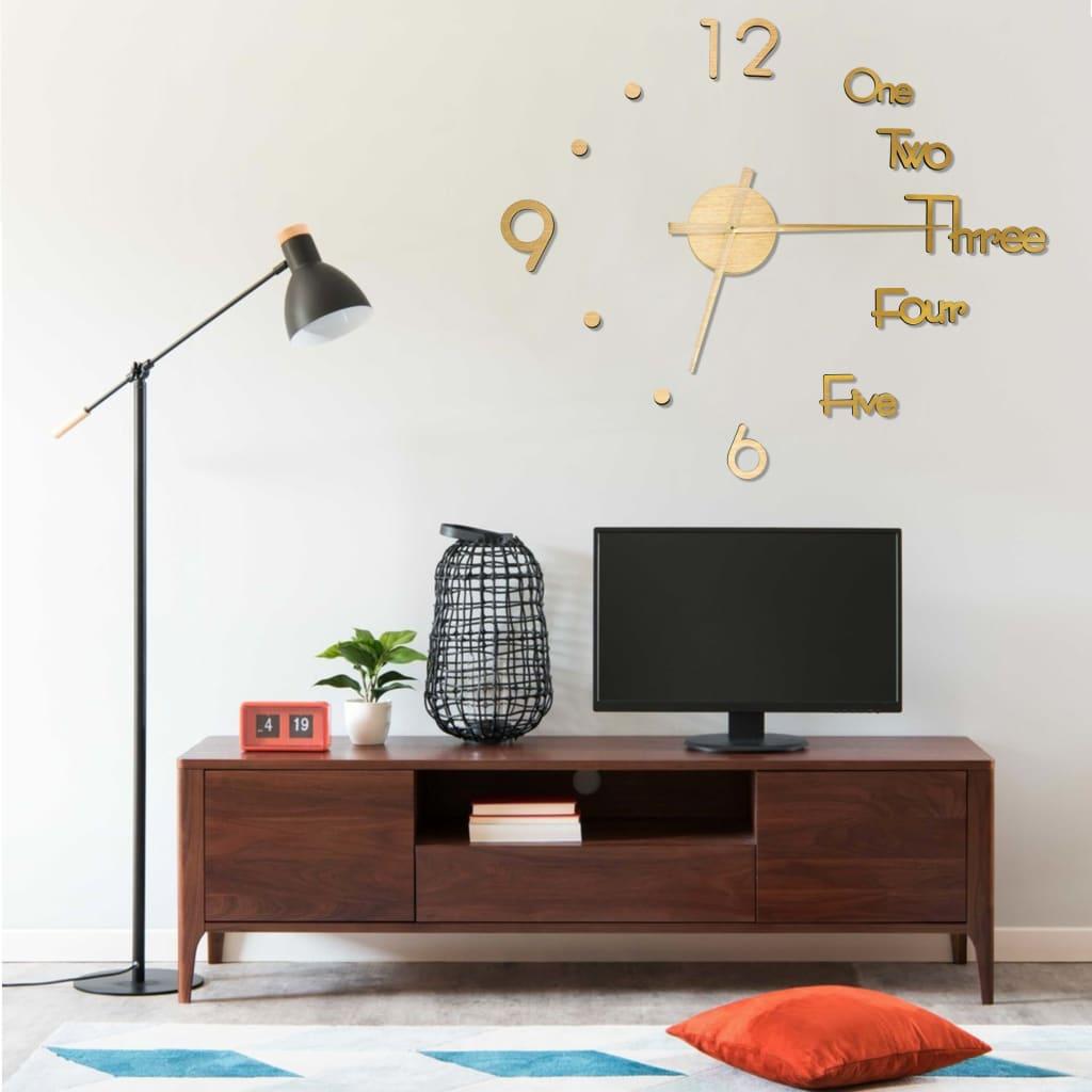 3D nástěnné hodiny moderní design zlaté 100 cm XXL