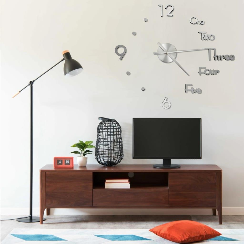 3D nástěnné hodiny moderní design stříbrné 100 cm XXL