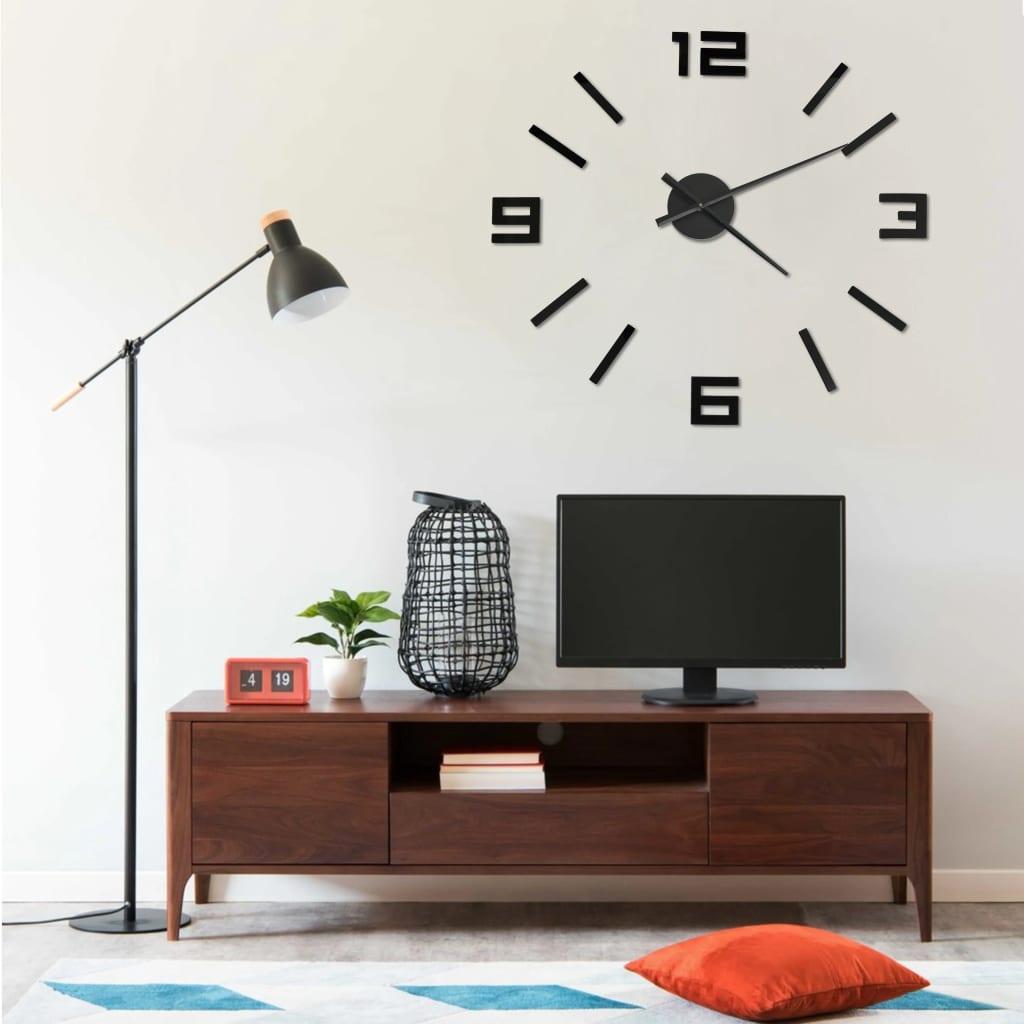 3D Nástěnné hodiny moderní design černé 100 cm XXL