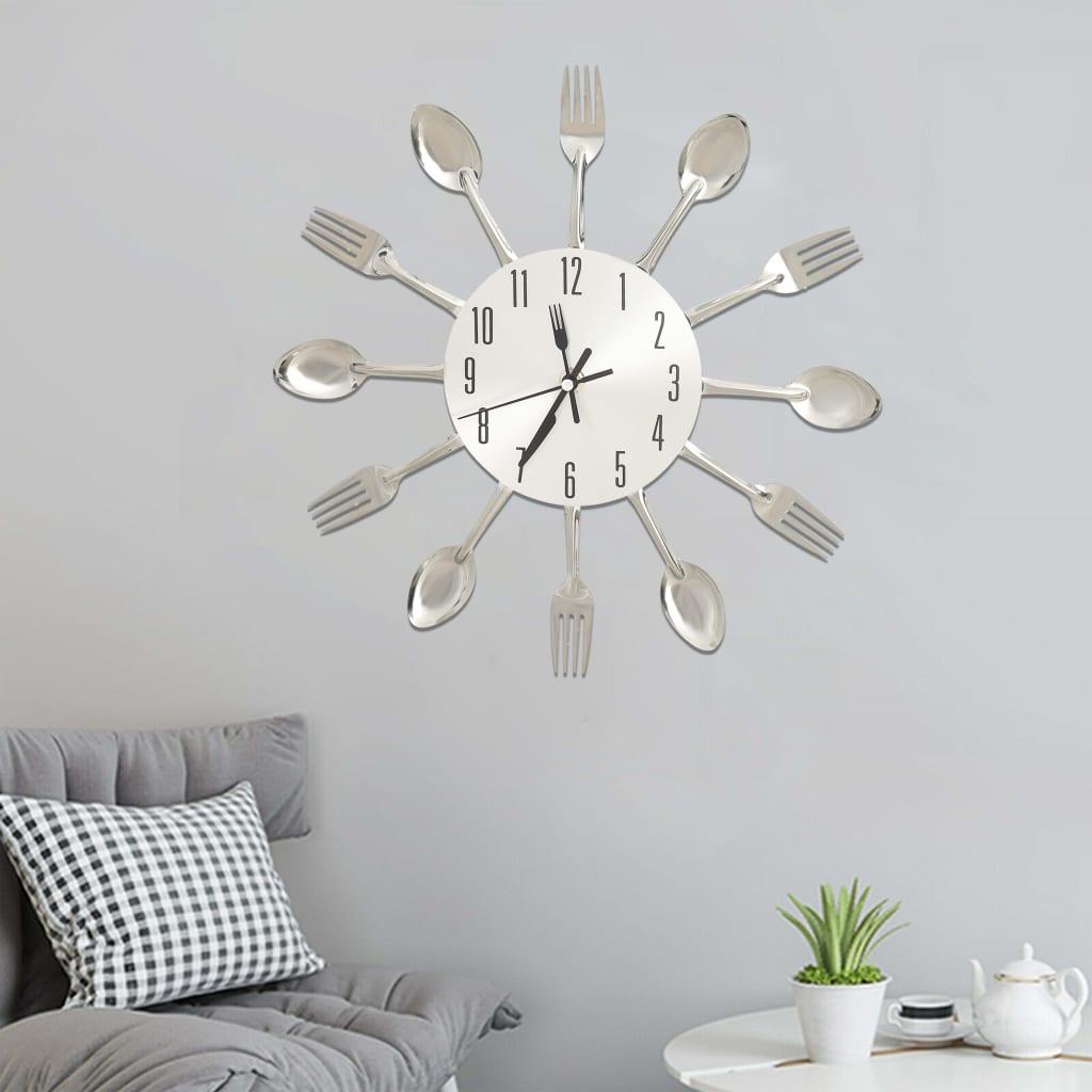 Nástěnné hodiny s vidličkami a lžícemi stříbrné 31 cm hliník