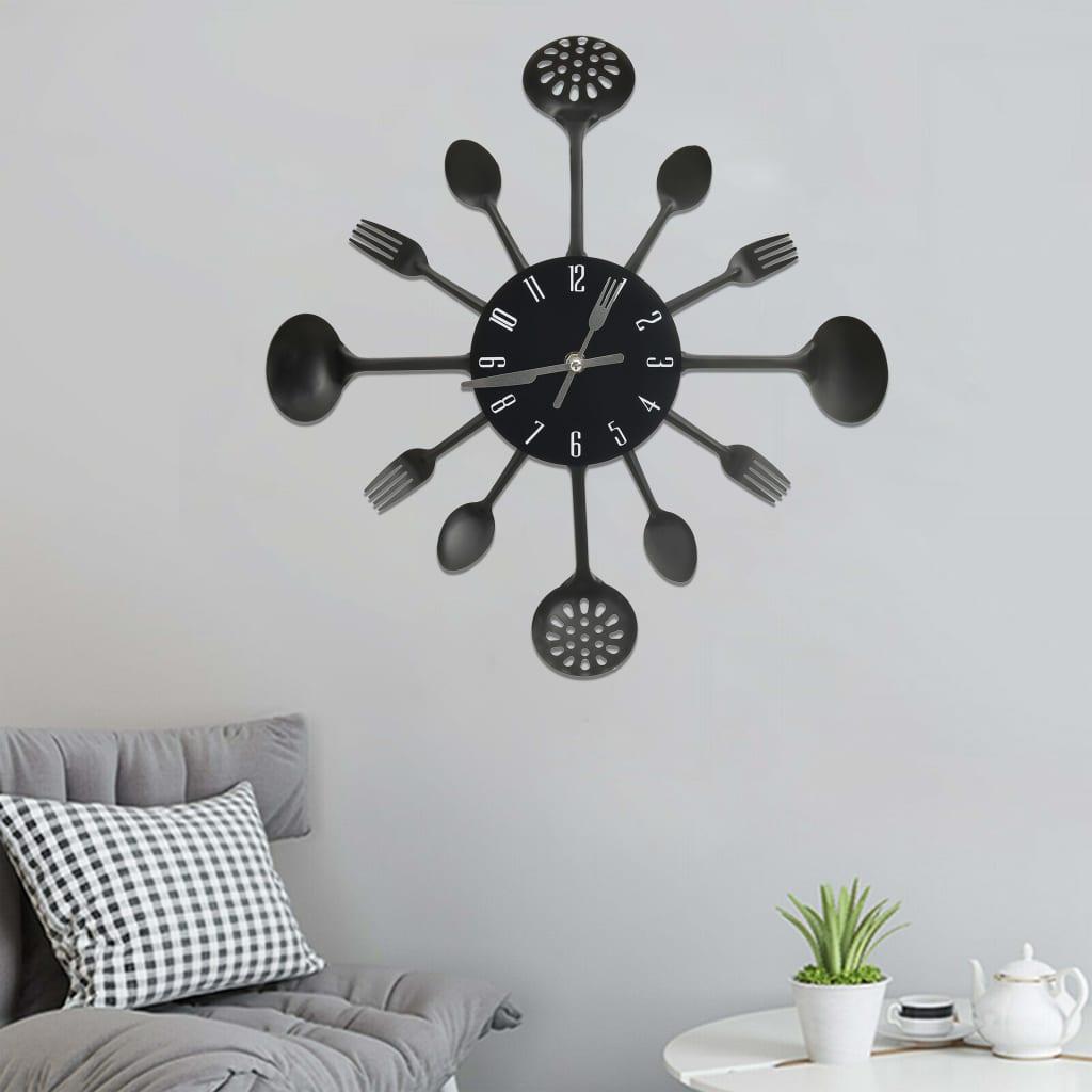 Nástěnné hodiny s vidličkami a lžícemi černé 40 cm hliník
