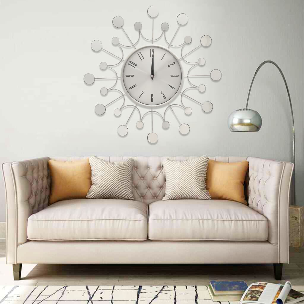 Nástěnné hodiny stříbrné 40 cm kov