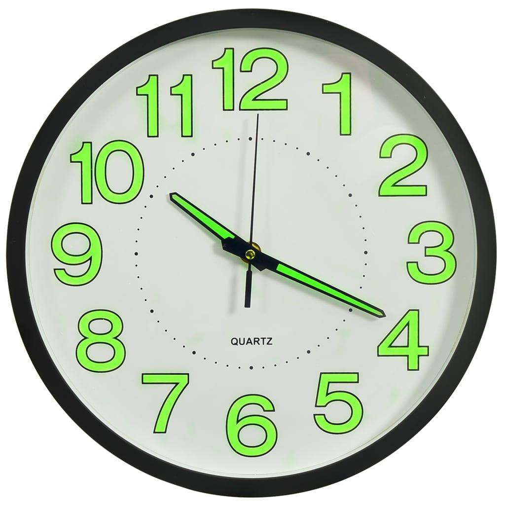 Svítící nástěnné hodiny černé 30 cm
