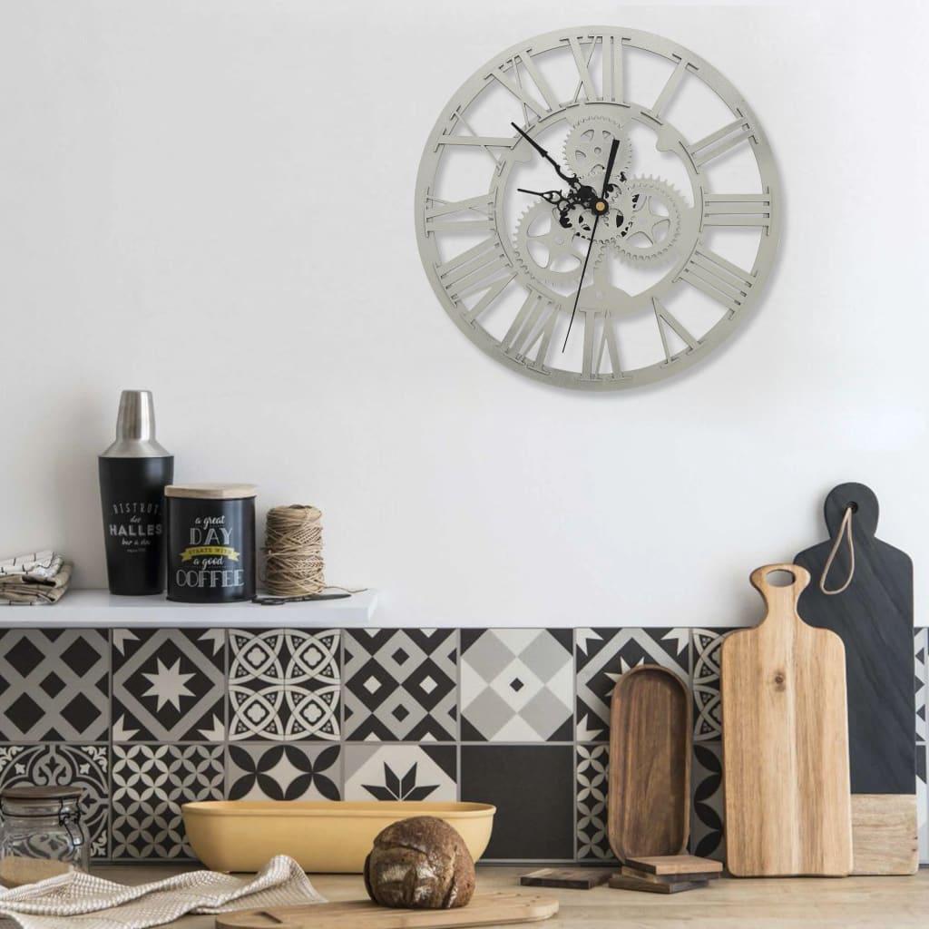 Nástěnné hodiny stříbrné 30 cm akrylové