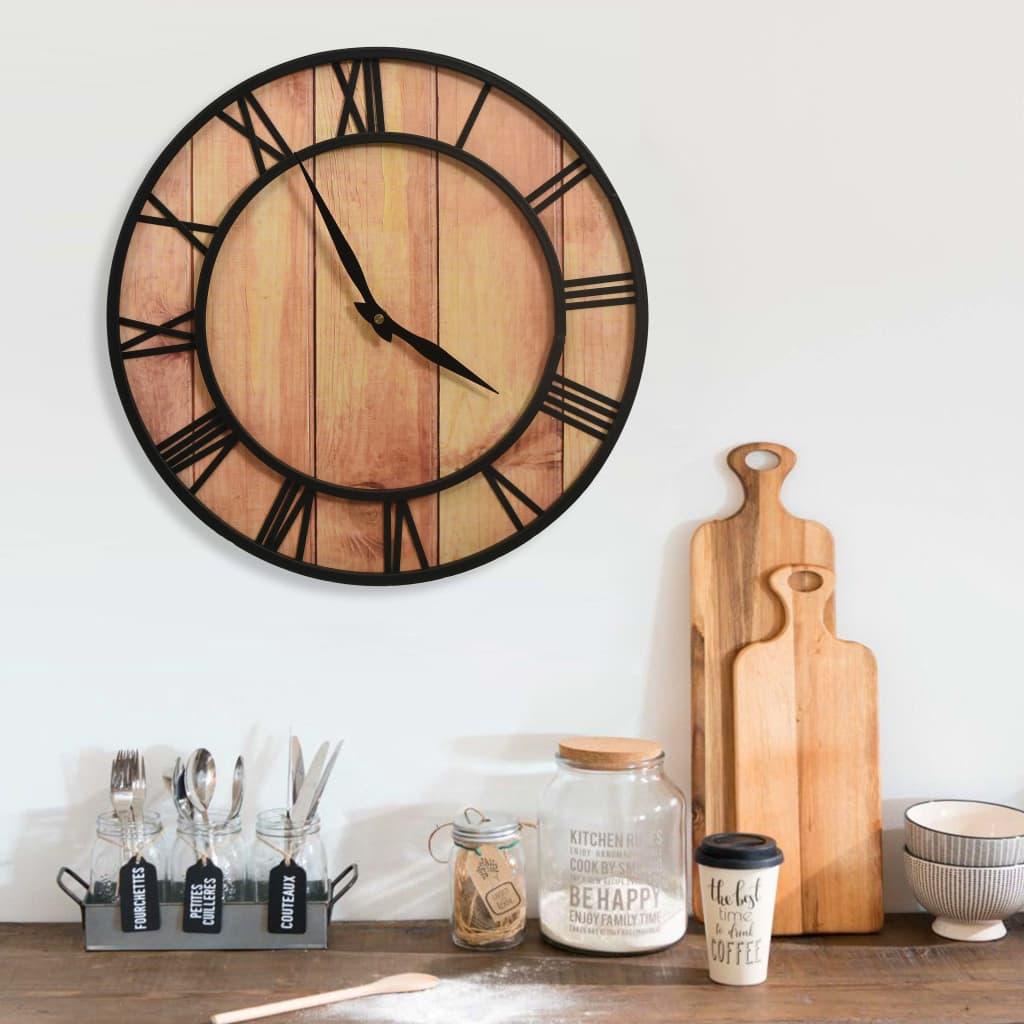 Nástěnné hodiny 39 cm hnědo-černé MDF a železo