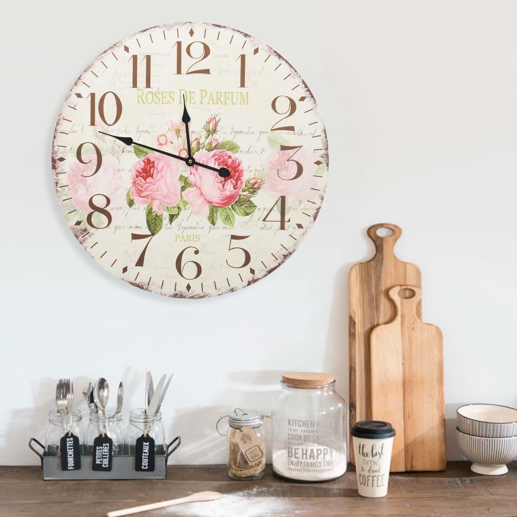 vidaXL Ceas de perete vintage, 60 cm, floare poza vidaxl.ro