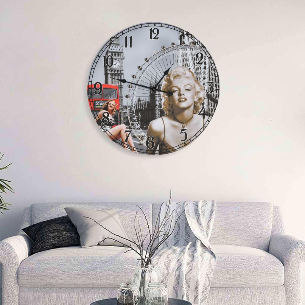 vidaXL Ceas de perete vintage Marilyn Monroe, 60 cm poza 2021 vidaXL