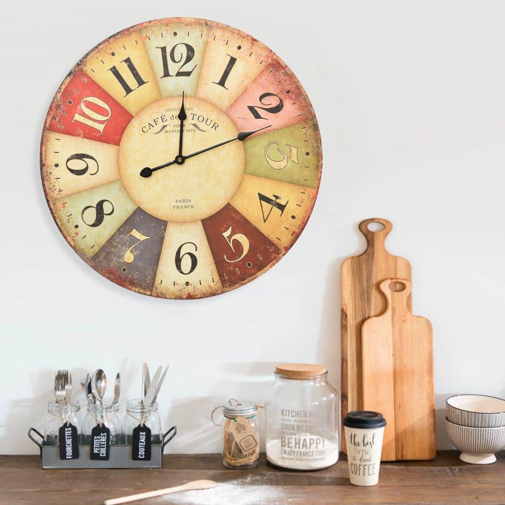 vidaXL Ceas de perete vintage colorat, 60 cm poza 2021 vidaXL