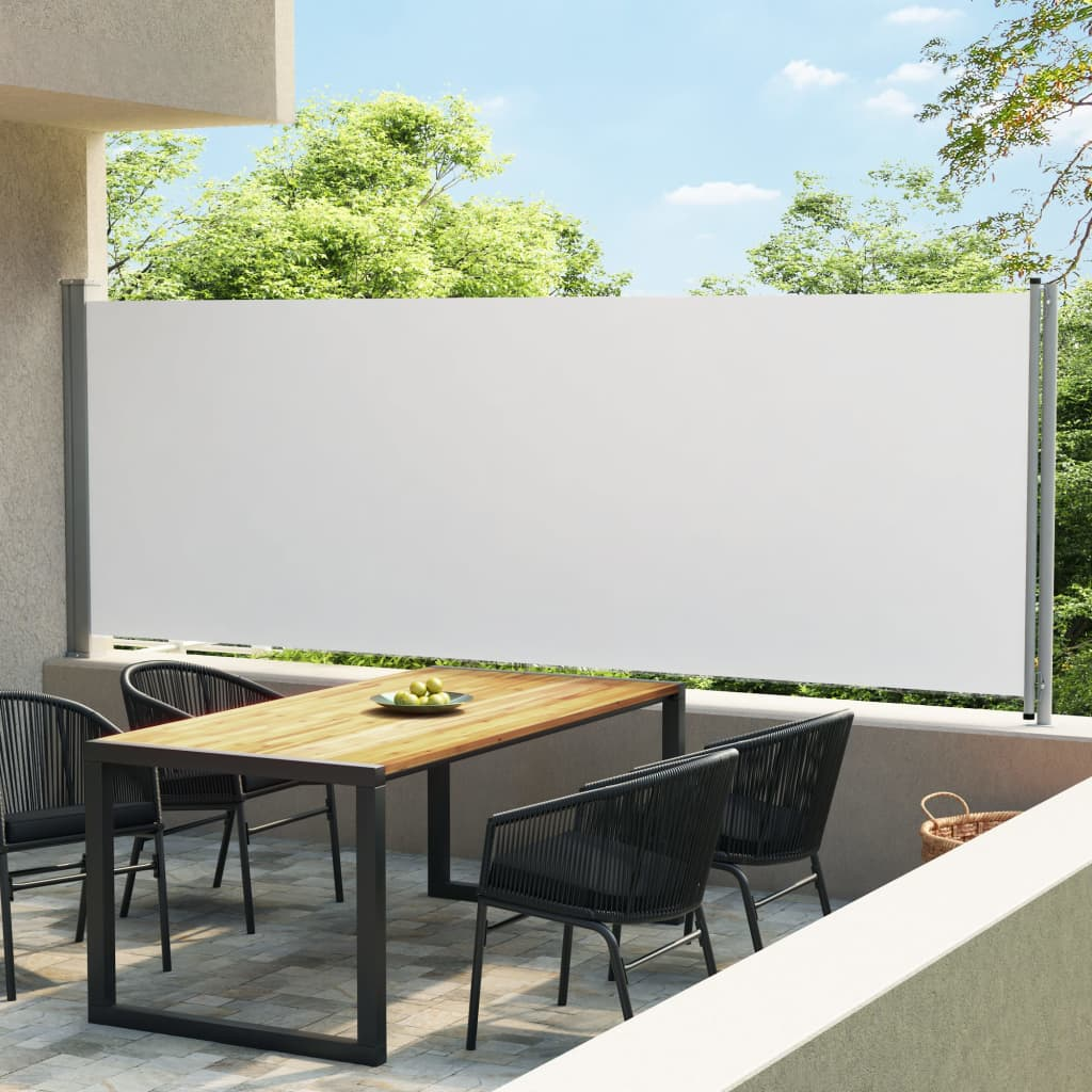 Tuinscherm uittrekbaar 600x160 cm crème