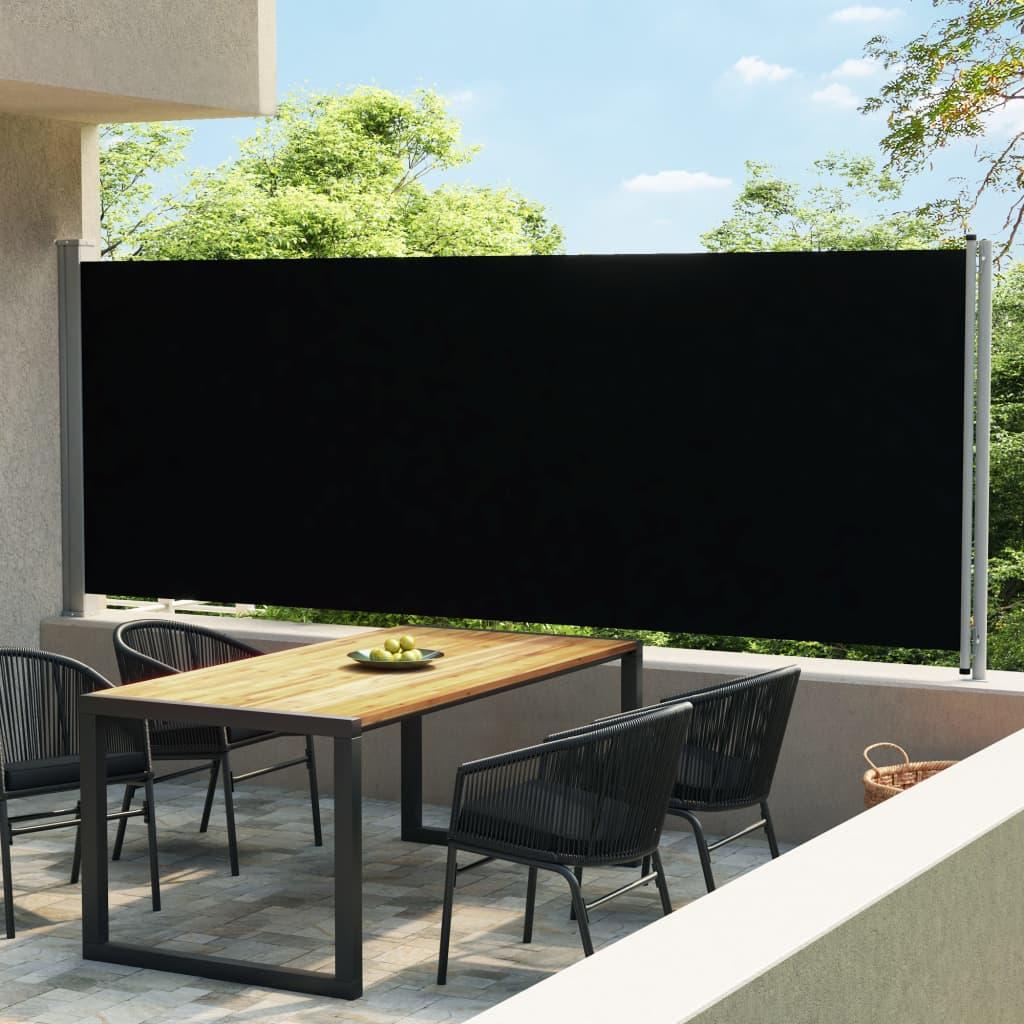 Tuinscherm uittrekbaar 600x170 cm zwart