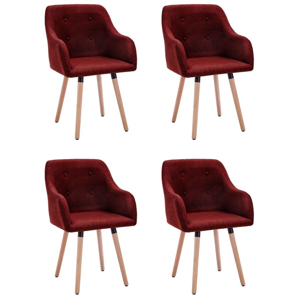 vidaXL spisebordsstole 4 stk. stof vinrød
