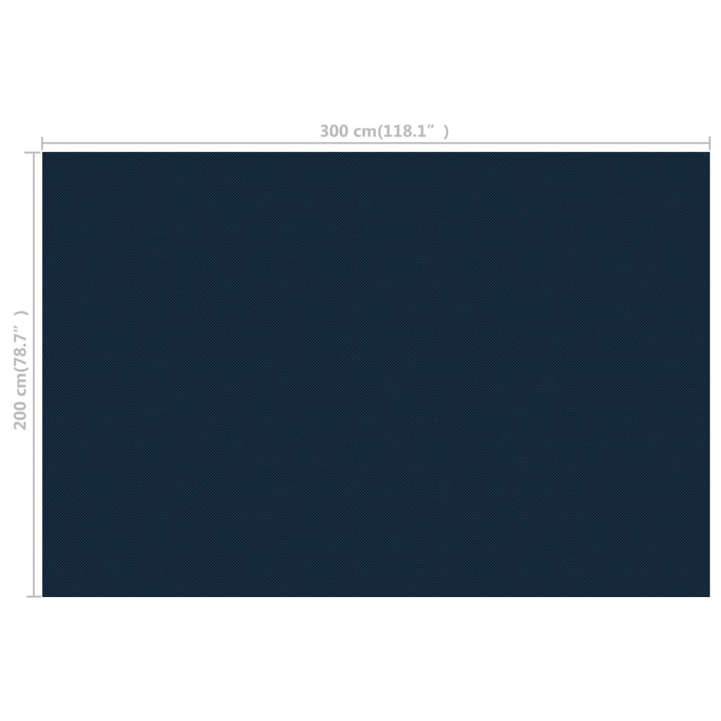 Zwembadfolie solar drijvend 300x200 cm PE zwart en blauw