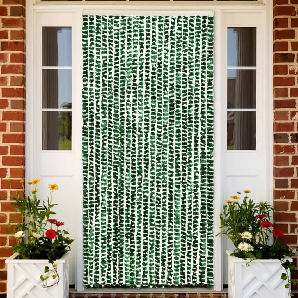 vidaXL Vliegengordijn 90x220 cm chenille groen en wit