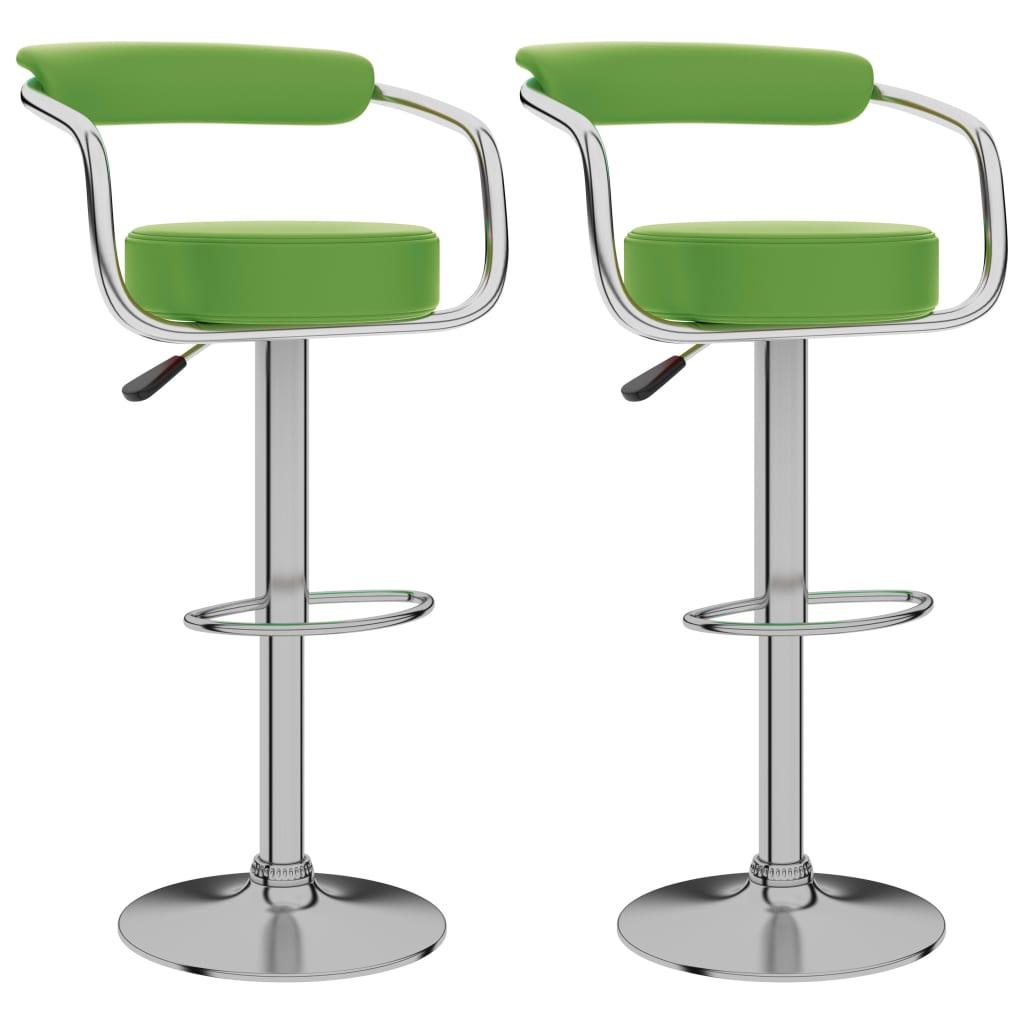 vidaXL Scaune de bar, 2 buc., verde, piele ecologică imagine vidaxl.ro