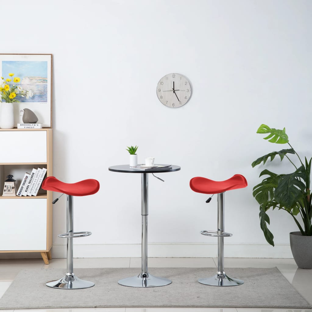 Barové stoličky 2 ks červené umělá kůže