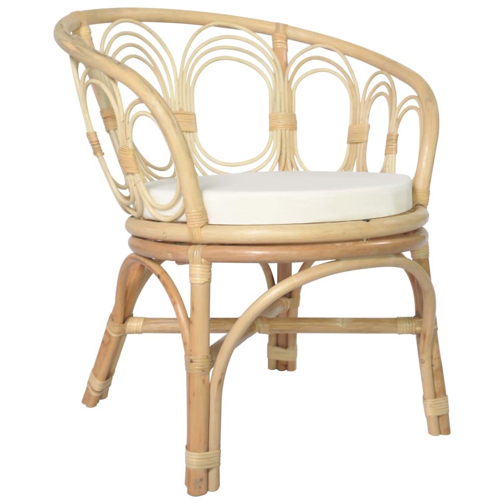 vidaXL Blagovaonska stolica s jastukom od prirodnog ratana i platna