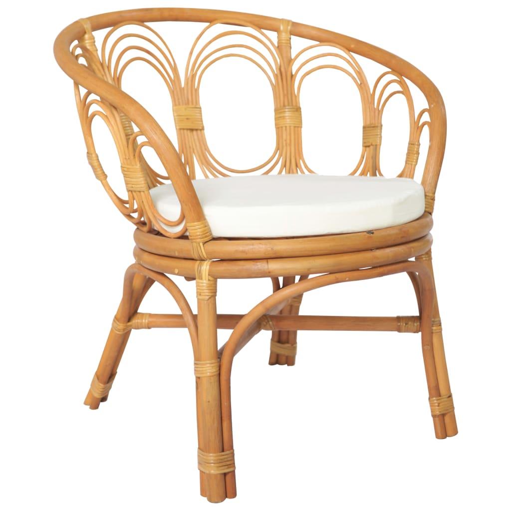 vidaXL Blagovaonska stolica s jastukom svjetlosmeđi ratan i platno