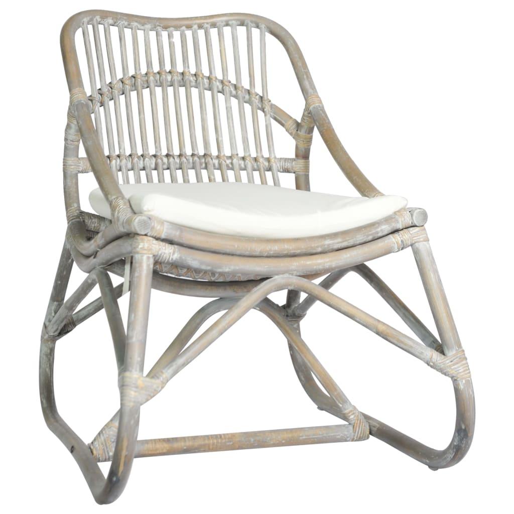 vidaXL Stolica od ratana i platna siva