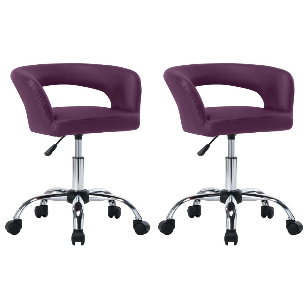 vidaXL spisebordsstole 2 stk. kunstlæder lilla