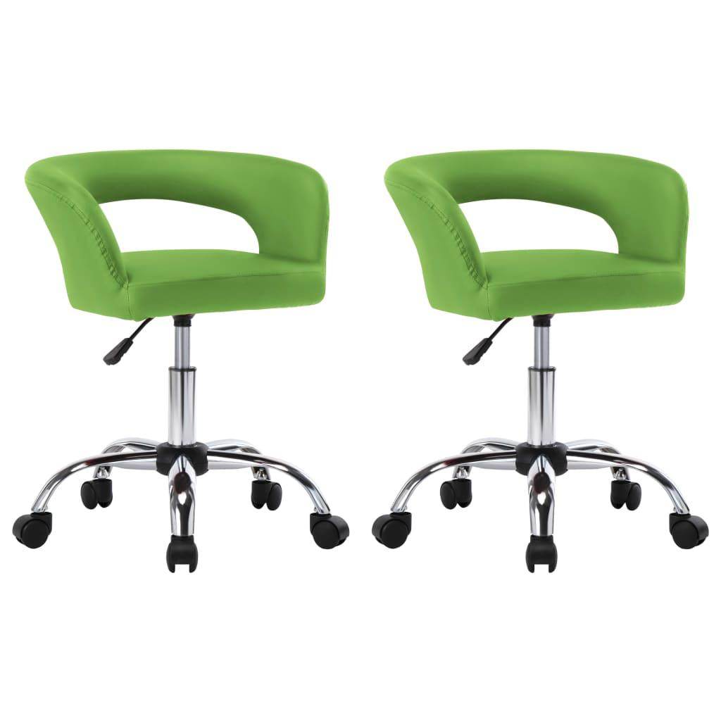 vidaXL spisebordsstole 2 stk. kunstlæder grøn