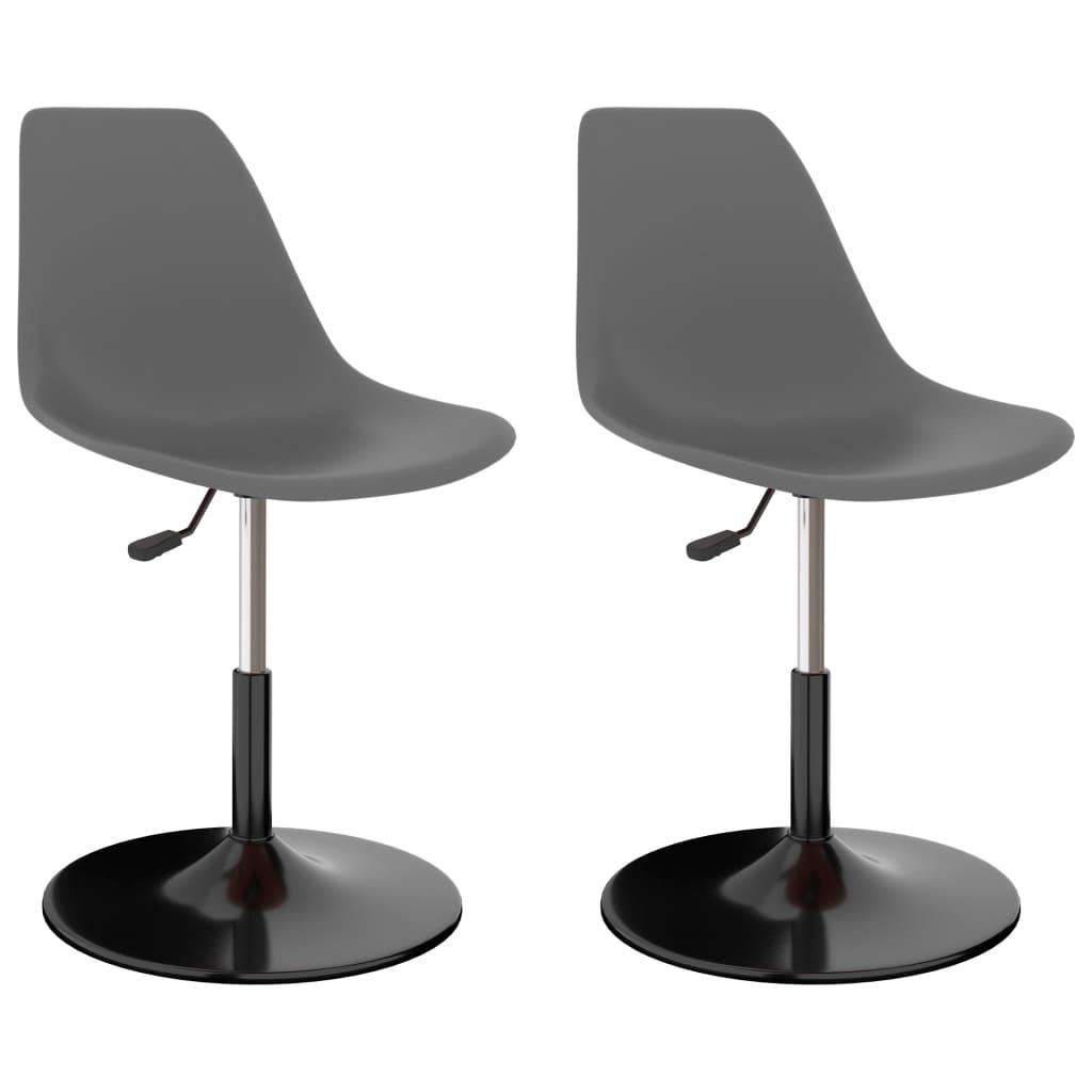 Otočné jídelní židle 2 ks světle šedé PP