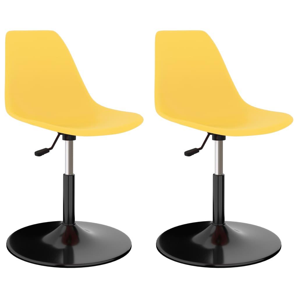 Otočné jídelní židle 2 ks žluté PP