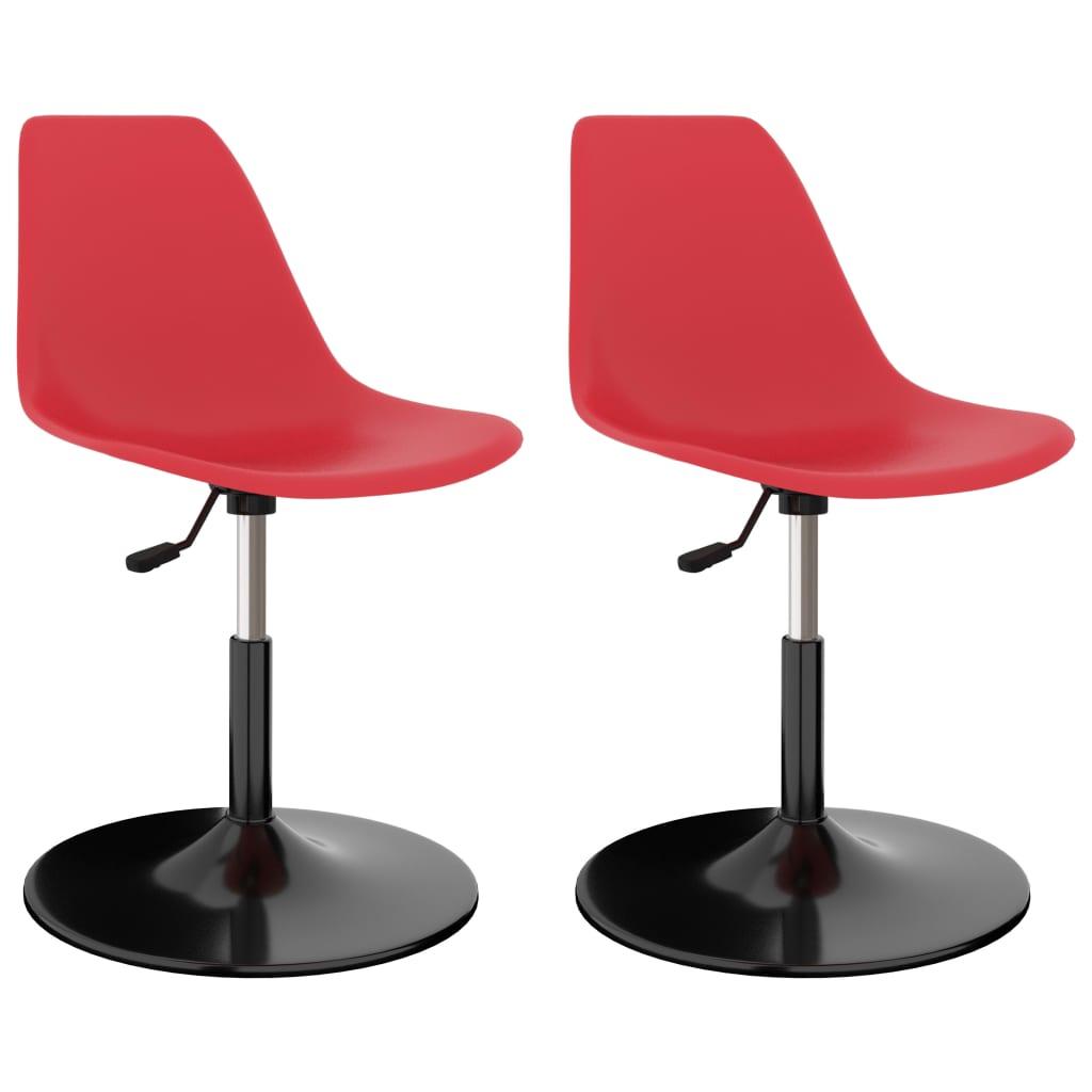 Otočné jídelní židle 2 ks červené PP