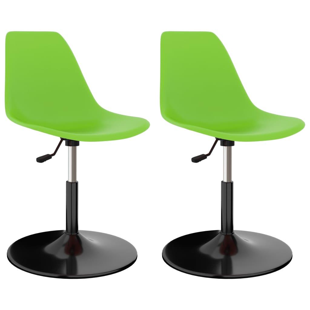 Otočné jídelní židle 2 ks zelené PP