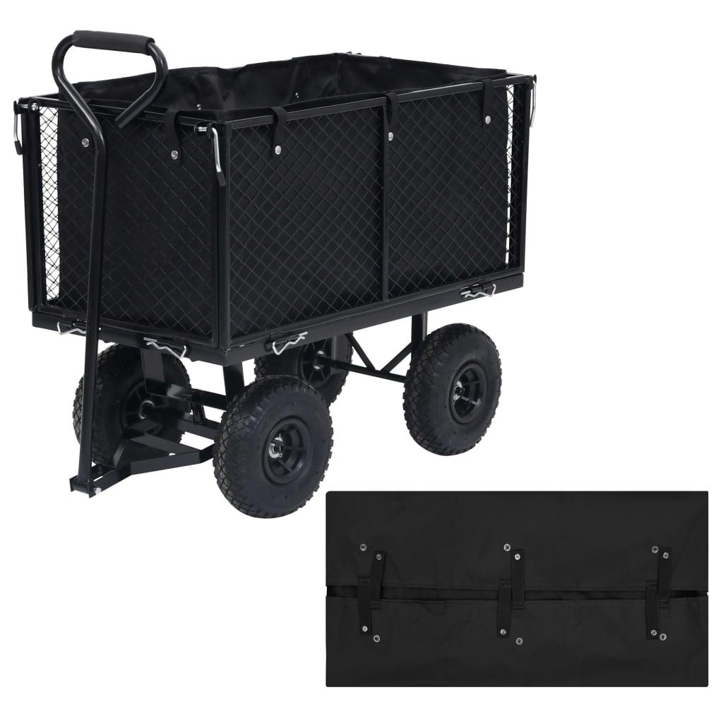 Vložka do zahradního vozíku černá 86 x 46 x 41 cm textil