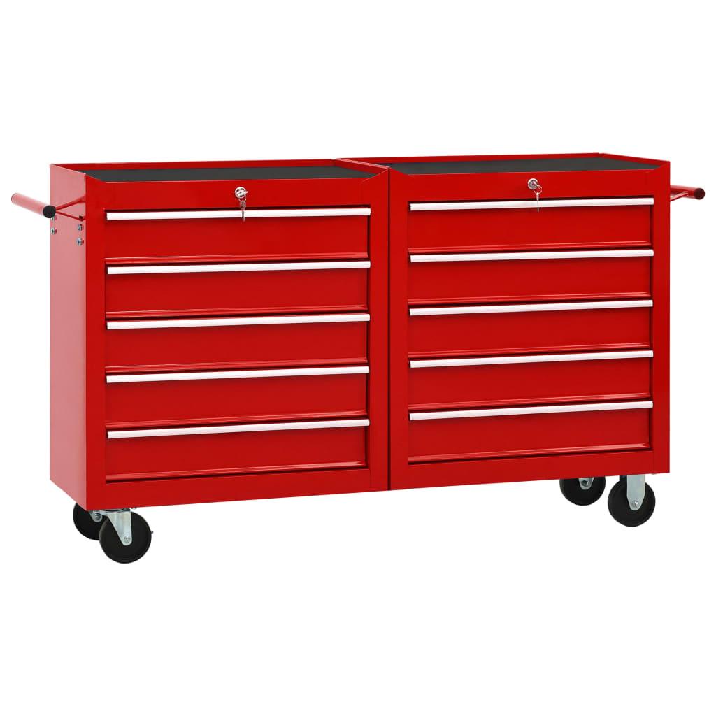 vidaXL Cărucior de scule cu 10 sertare, roșu, oțel poza 2021 vidaXL