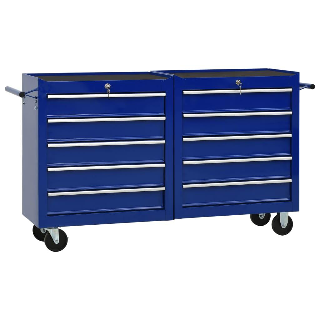 vidaXL Cărucior de scule cu 10 sertare, albastru, oțel poza 2021 vidaXL