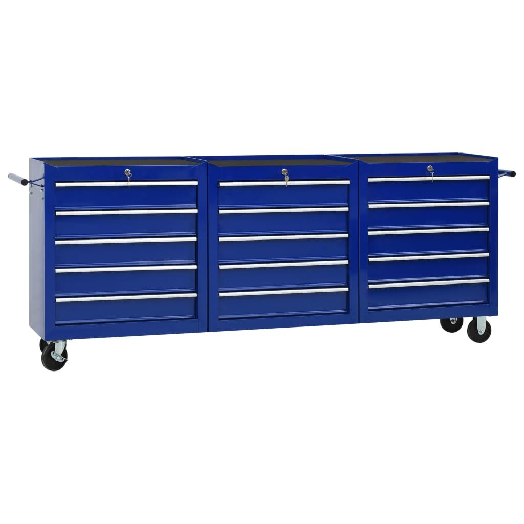 vidaXL Cărucior de scule cu 15 sertare, albastru, oțel poza 2021 vidaXL