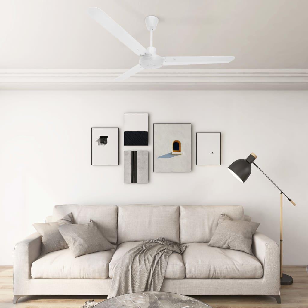vidaXL Ventilatore da Soffitto 142 cm Bianco
