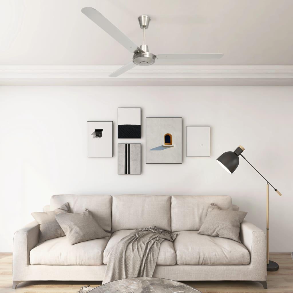 vidaXL Ventilatore da Soffitto 142 cm Argento
