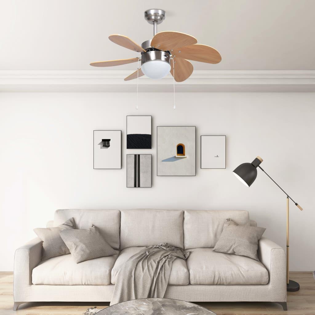 Stropní ventilátor se světlem 76 cm světle hnědý