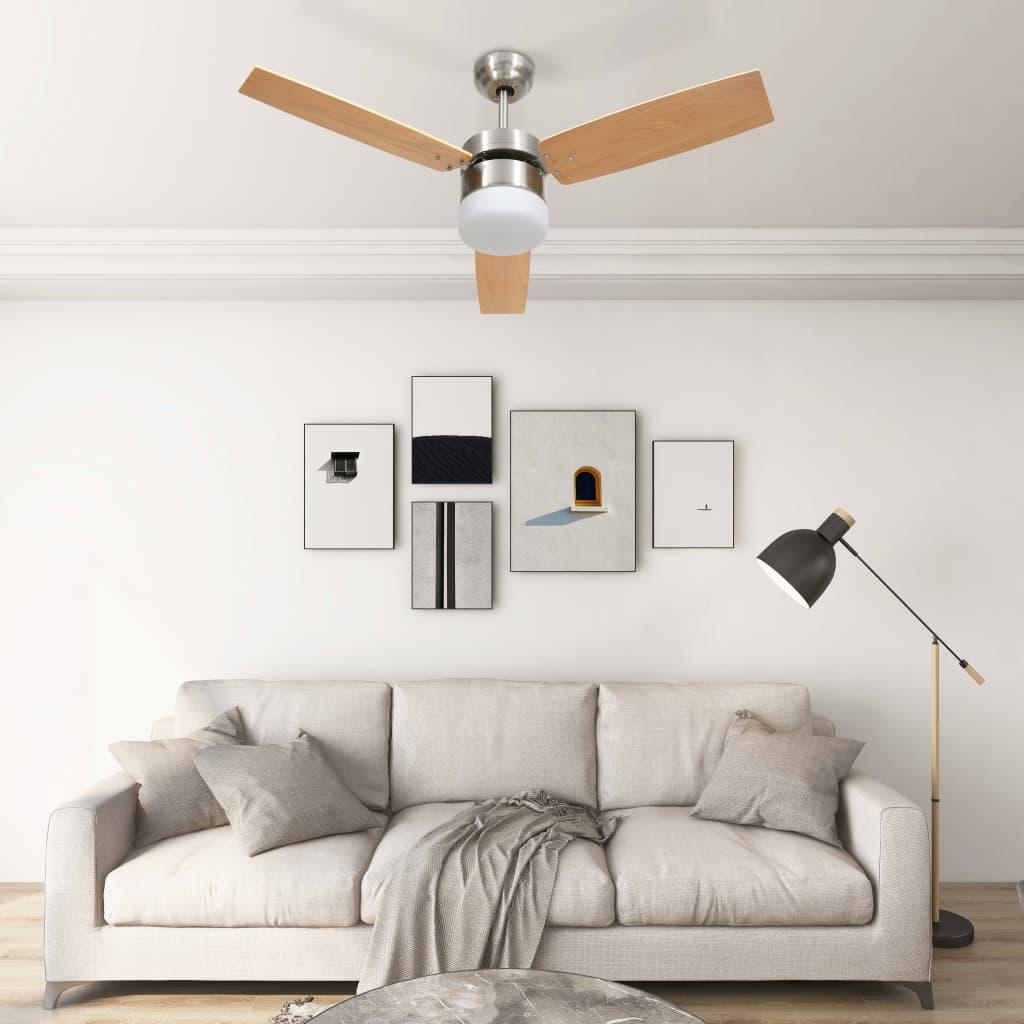 Stropní ventilátor světlo a dálkový ovladač 108 cm světle hnědý