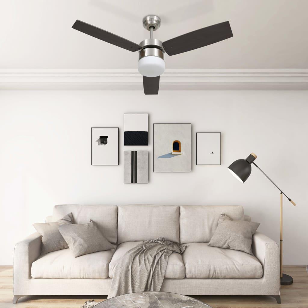 Stropní ventilátor světlo a dálkové ovládání 108 cm tmavě hnědý