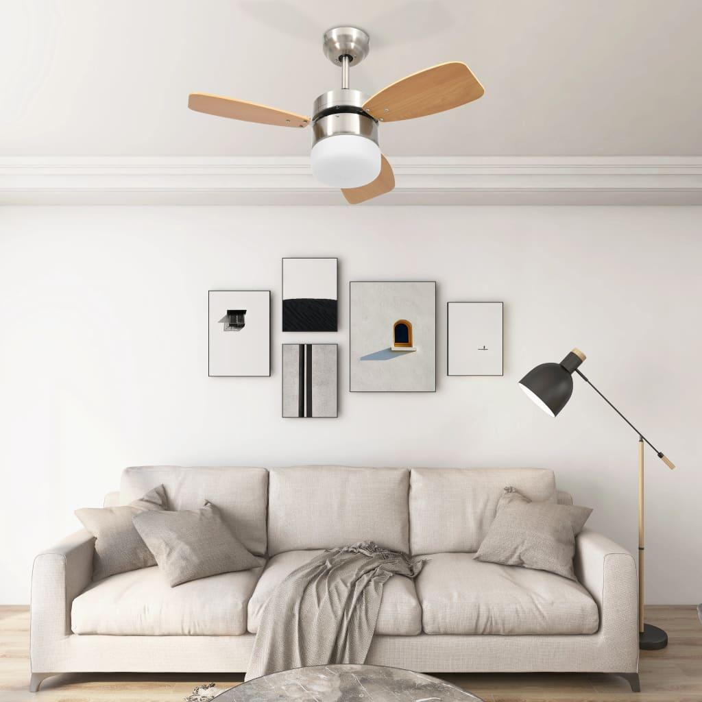 Stropní ventilátor světlo a dálkové ovládání 76 cm světle hnědý