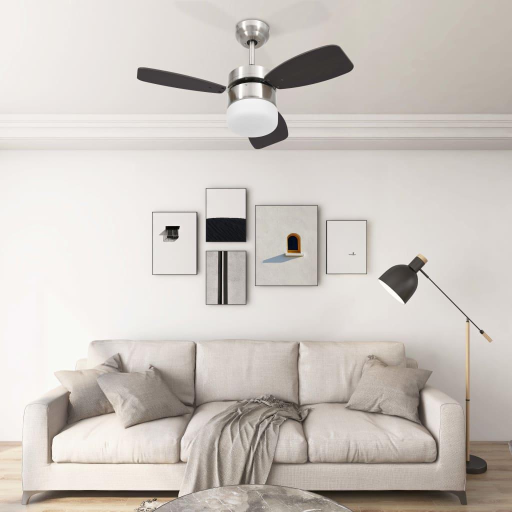 Stropní ventilátor světlo a dálkové ovládání 76 cm tmavě hnědý